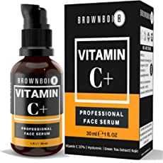 BrownBoi Vitamin C Serum Plus For Face Skin Whitening and Lightening With Hyaluronic Ascorbic Kojic Acid Green Tea and Mulethi Extracts Ideal For Wrinkles Pigmentation Stretch Marks Dark Spots Anti Ageing Acne Scars (1FL OZ)
