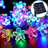 Solar Lichterkette LED Weihnachtslichterkette für Außen Party, Weihnachten, Hochzeit, Neujahr Deko (Blüte Bunt)