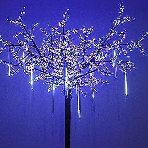 Lot de 8 tubes à suspendre de 240 LED Effet gouttes de pluie, stalactites, neige tombante, étoiles filantes Décoration pour sapin de Noël 50 cm blanc