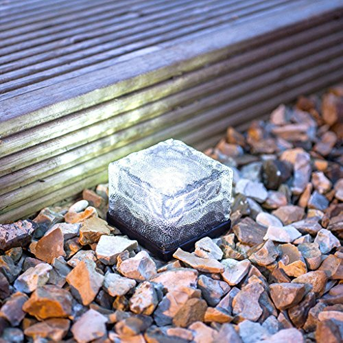 EiYao Solar Rasen Licht kreativ Glas Ice Cube Light Square unterirdisch Lichter Garten dekorative Stehleuchte (weißes Licht) (Cube Laminat)