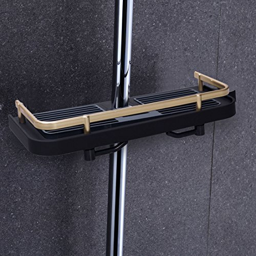 LOUTY Black Plastic Shower Shelf Caddy, Bathroom Tray Rack Bath Storage Stand Holder for Soap Shampoo Conditioner, NO Drilling Wall Mounted Never Rust