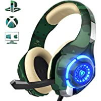 Beexcellent Gaming Headset for PS4 PC Xbox one, Stereo Sound Over Ear Headphones with Noise Reduction Microphone Volume Control and LED Light for Laptop Tablet Mac iPad