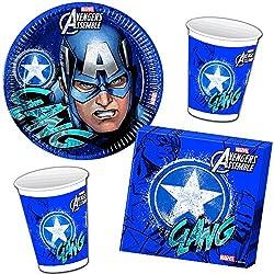 37piezas Party * Avengers Assemble Captain America * con plato + taza + Servilletas + FIESTA/Cumpleaños/Niños Set Vajilla Decoración Niños Fiesta de cumpleaños fiesta temática temática Globos carpeta® Deko//Marvel Super Held Avengers
