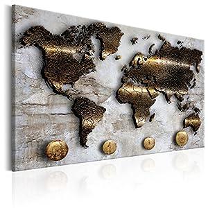 murando - Bilder 120x80 cm - Leinwandbilder - Fertig Aufgespannt - 1 Teilig - Wandbilder XXL - Kunstdrucke - Wandbild - Weltkarte Karte Welt Kontinente Gold Struktur k-A-0047-b-a