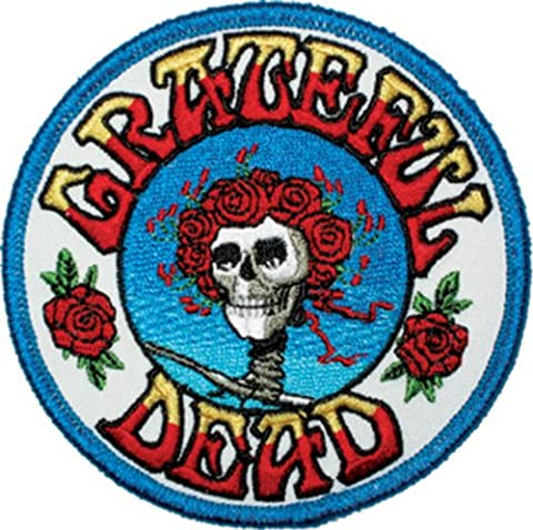 "GRATEFUL DANKBAR DEAD Skull Schädel and Roses Logo Patch Fleck - Officially Licensed Classic Rock GDP Artwork, 3.5"" x 3.5"", Iron-On / Sew-On EmbroideRed rotBestickt Patch Fleck"
