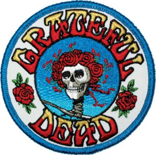 GRATEFUL DANKBAR DEAD Skull Schädel and Roses Logo Patch Fleck - Officially Licensed Classic Rock GDP Artwork, 3.5