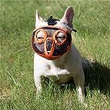 JYHY Maulkorb für Hunde mit abgeflachter Schnauze-verstellbar, atmungsaktiv: Englische Bulldogge, Französische Bulldogge, Pekingese, Shih-Tzu, Mops, auch für Katzen geeignet. Orange(Die Augen) M