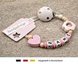 Baby SCHNULLERKETTE mit NAMEN | Schnullerhalter mit Wunschnamen - Mädchen Motiv Herz in rosa & Blume in weiß