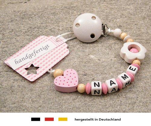 Preisvergleich Produktbild Baby SCHNULLERKETTE mit NAMEN / Schnullerhalter mit Wunschnamen - Mädchen Motiv Herz in rosa & Blume in weiß