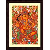 Tamatina Framed Canvas Painting - Sri Ganesha - Kerala Mural Painting - Wooden Texture Frame - Size 15 Inch X 11 Inch (40x30 Cms)