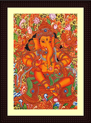 Tamatina Framed Canvas Painting - Sri Ganesha - Kerala Mural Painting - Wooden Texture Frame - Size 15 inch x 11 inch (40x30 Cms)  available at amazon for Rs.899