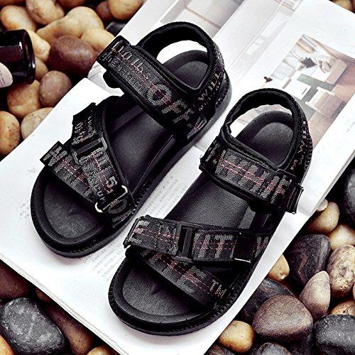 XY&GKSandales sandales pour femmes, les semelles d'été, occasionnels, les chaussures de plage de vent de l'École des lettres, et nus pieds Chaussures pour femmes Black