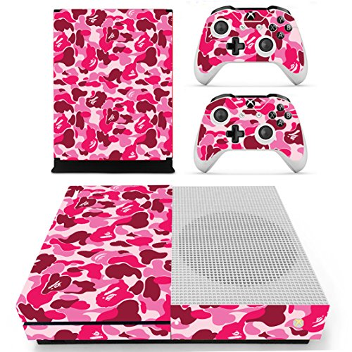 DOTBUY Xbox One S Vinly Protective Skin Sticker Konsole + 2 Controller Decal + Kinect 2.0 Kamera Sticker Graffiti Pink