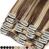Extension Capelli Veri Clip 8 Fasce Remy Human Hair Full Head XL Set Lisci Lunga 10 pollici 25cm Pesa 75grammi, 4/27# Cioccolato/Biondo Scuro