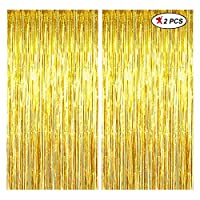 PACKAGE INCLUDES: 2PC OF GOLDEN FOIL CURTAIN Size: 3Ft by 6FT, 3Ft is the width and 6ft is height HOW TO USE: put double tape behind and stick to the wall.