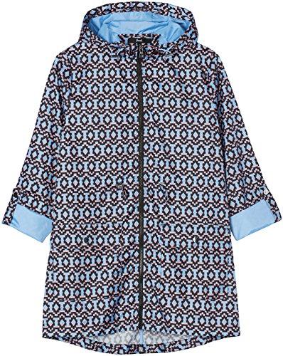 FIND Damen Faltbarer Jacke mit floralem Print Mehrfarbig (Blue/pink Aztec)