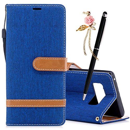 Meeter Coque PU Cuir pour Samsung Galaxy Note 8 Etui Pochette Portable Flip Wallet Housse Mode Bookstyle Case Porte Carte Cas Back Cover Souple Fonction Stand Spécial Magnetique Dustpro