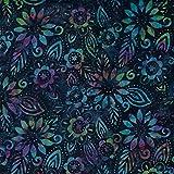 Marineblau Flourish Design 100% Baumwolle Bali Batik Tie Dye Muster Stoff für Patchwork, Quilten &,–(Preis Pro/Quarter Meter)