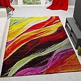 VIMODA Teppich Modern Designer Wellen Muster Multifarben Bunt Rot Grün Gelb Schwarz Sehr Pflegeleicht 80x150 cm