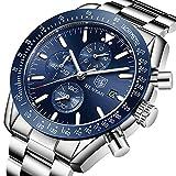 BENYAR Cuarzo cronógrafo Impermeable Relojes Business Casual Deporte Acero Inoxidable de Reloj de Pulsera