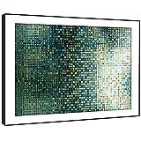 Whats On Your Wall.com BFAB1386D gerahmtes Bild Druck Wandkunst - grüne Fliese Mosaik Modernes Abstrakte Landschaft Wohnzimmer Schlafzimmer Stück Wohnkultur Leicht Hang Guide (51x72cm)