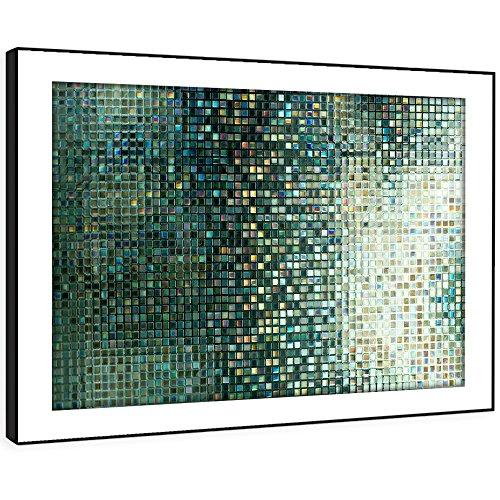 Whats On Your Wall.com BFAB1386D gerahmtes Bild Druck Wandkunst - grüne Fliese Mosaik Modernes Abstrakte Landschaft Wohnzimmer Schlafzimmer Stück Wohnkultur Leicht Hang Guide (51x72cm) (Moderne Mosaik)