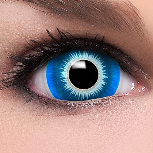 Farbige Maxi Sclera Kontaktlinsen Lenses Elf inkl. Behälter - Top Linsenfinder Markenqualität, 1Paar (2 - Dunkle Elfen Kostüm Kontaktlinsen