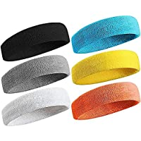 (6Pcs Headband) - Sweatband Sports Headband for Men & Women Moisture Wicking Athletic Cotton Terry Cloth Sweatband for Tennis, Basketball, Running, Gym, Working Out