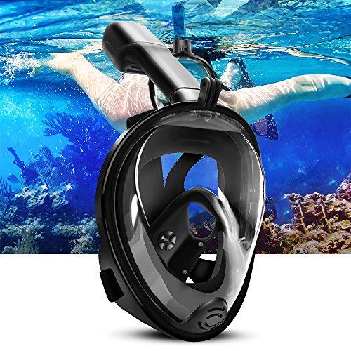 Diving Mask vollmaske Tauchmaske ELEPOWSTAR 180 Grad Blickfeld Anti-Fog und Anti-Leck-Technologie für Erwachsene und Kinder Schwarz
