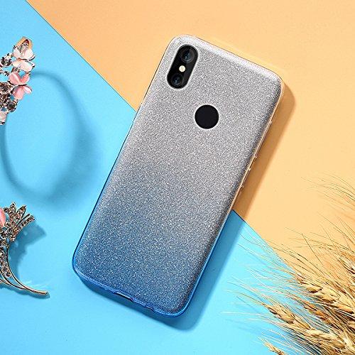 EINFFHO Xiaomi Redmi S2 Silikon Hülle, [2 in 1] Kristall Glänzend Gradient Glitzer Weich Silikon Handyhülle Schutz Etui Bumper Schutzhülle Case Handy Hülle für Xiaomi Redmi S2, blau