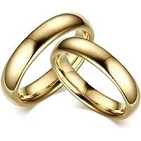DRG Gioielli Anello Fedine Fidanzamento FEDI Anelli Acciaio 4 mm Oro Semplici Lucide Fidanzati Nuziali Anniversario Uomo…