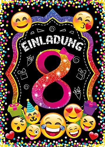 JuNa-Experten 12 Einladungskarten zum 8. Kindergeburtstag für Mädchen / Einladung achte Geburtstag / Einladungen zum Geburtstag / Kartenset für Kindergeburtstag / Glitzer
