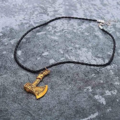 Yean Axe Anhänger Halsketten Schwarz Geflochtenes Leder Halskette Viking Rune Halskette Schmuck für Männer (Antikes Gold) (Antike Axt)