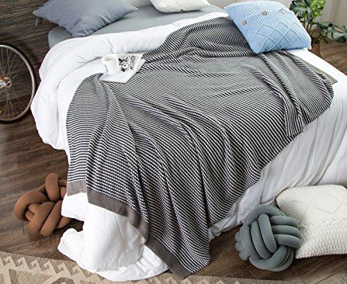 Tbslee Cotton Throw Blanket Stripes 130 X 180Cm Bett Warm Microfaser Für Bett Stuhl Und Couch,Black