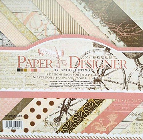 40 Blatt Scrapbooking Papier Gemustertes Karton Bastelpapier mit Vintage Design für DIY Handwerk Foto Hintergrund Deko 7x7 Zoll (013)