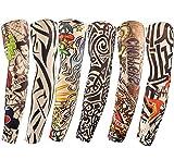 Diossad 6 Stück Tattoo Ärmel Sleeves Unisex Nünne Nylon Temporäre Gefälschte Ärmel Ärmeln Slip Sonnenschutzmittel Tiger Schädel Tribal