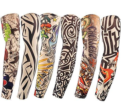 Diossad 6 Stück Tattoo Ärmel Sleeves Unisex Nünne Nylon Temporäre Gefälschte Ärmel Ärmeln Slip Sonnenschutzmittel Tiger Schädel ()