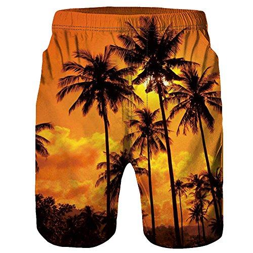Celucke Herren Badeshorts Hawaii Boardshorts Freizeit Shorts Casual Mode Urlaub Strand-Shorts Sommer Kokosnuss Palmen, Männer Badehose Bademode Schwimmshorts Schwimmhose Badepants