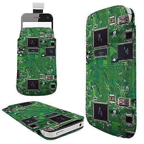701 - Circuit Motherboard Chip Retro Samsung Galaxy S3 Mini S4 Mini S5 Mini Galaxy core prime Galaxy J1 Fashion Hülle Tasche Etui Pouch Cover- Mit Rausziehlasche