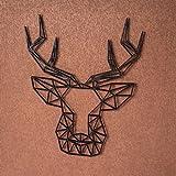 GRAVURZEILE Origami Hirschkopf aus Holz - in verschiedenen Farben & Größen - Moderne Wand-Deko & Eyecatcher - Farbe Silber, Größe Hirschkopf Größe: L (31,7 x 25,6 cm)