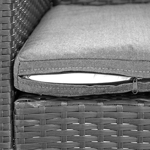 Rattanset 4tlg Sitzecke mit Tisch mit 2 Sessel und 1 Sofa Garnitur Sitzgruppe Polster grau Terrasse Gartenmöbel Poly Rattan Sicherheitsglas Lounge In/Outdoor 4-Sitzer 4-teilig - 7