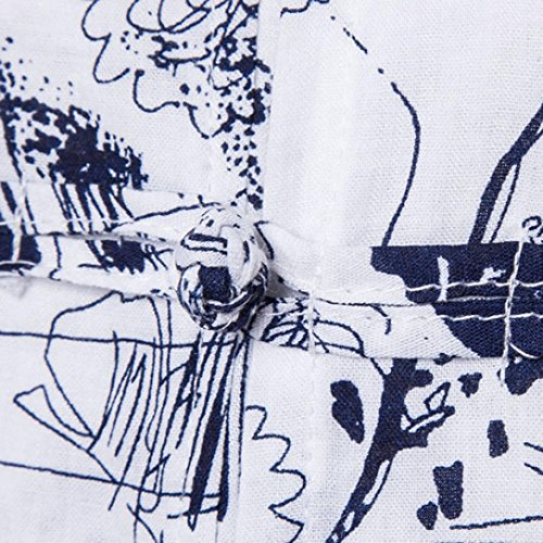 KEERADS Herren Poloshirt Freizeithemd,Regular Fit Bohemia Retro Knopf T-Shirt Blau A
