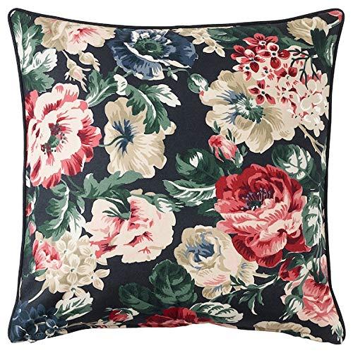 Ikea LEIKNY Kissenbezug in schwarz/bunt; mit Blumenmuster; 100% Baumwolle; (50x50cm) (Ikea Kissenbezüge)