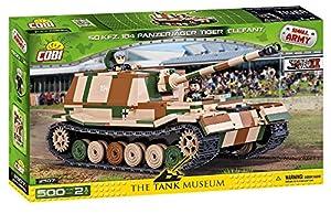 COBI- Tanque SD.KFZ. 184 Panzerjäger Tiger Elefant, Color Verde, Negro, marrón y Beige (2507)