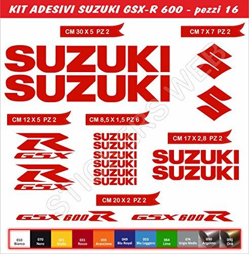 Aufkleber stickers SUZUKI GSX-R GSXR 600 moto decal bike-Motorrad- Cod. 0643 (Rosso cod. 031)
