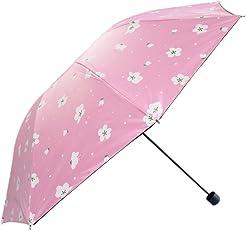 KEKEMI 3 Fold Polyester Flower Print Unisex Umbrella(Pink)