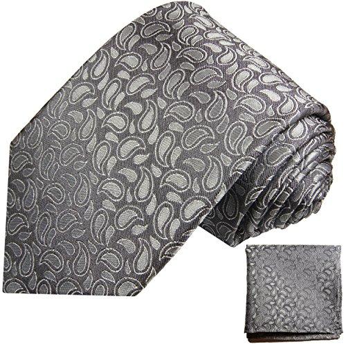 Cravate homme gris paisley ensemble de cravate 2 Pièces ( 100% Soie Cravate + Mouchoir )