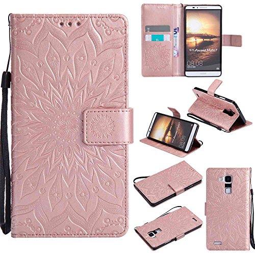 """Foto Guran® Custodia in Pelle per Huawei Ascend Mate 7 6"""" Smartphone avere Carta Slot Supporto Protettiva Flip Case Cover-Rose Gold"""