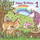twizler 1. Geburtstagskarte für Mädchen mit Magical Einhorn, Feen, Regenbogen, und Glitzer–One Year Old–Alter 1–Kinder Geburtstag–Mädchen Geburtstag Karte