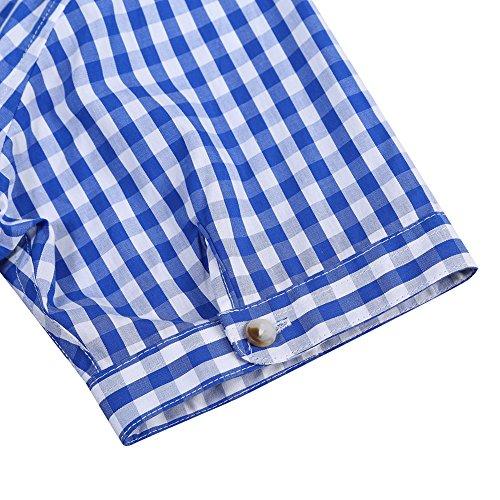 KoJooin Trachten Herren Hemd Trachtenhemd Langarmhemd Freizeithemd Baumwolle - für Oktoberfest, Business, Freizeit (2XL, Blau1) - 7